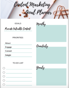 content marketing goal planner